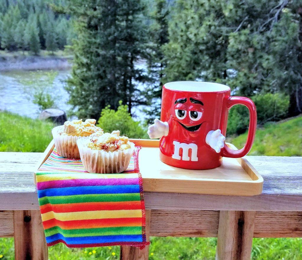 mini babkas on tray with M&Ms coffee mug