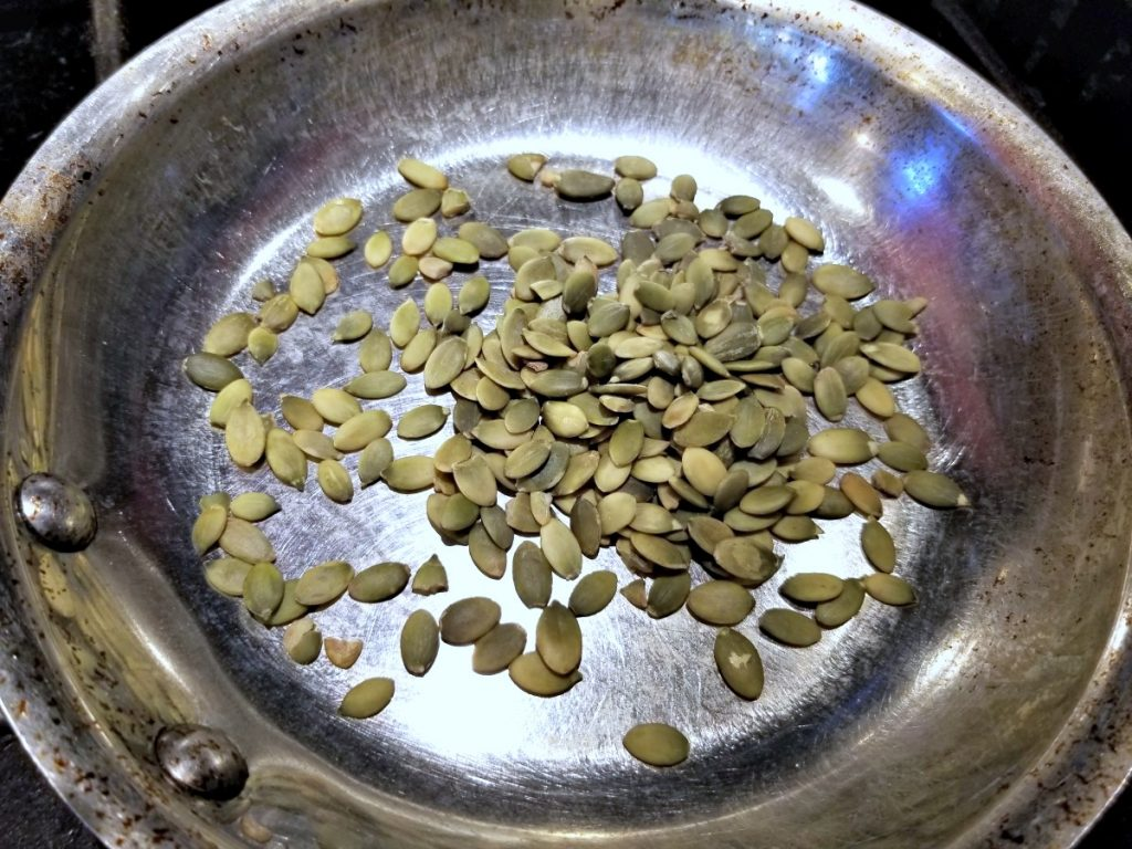 toast pumpkin seeds for rice salad recipe