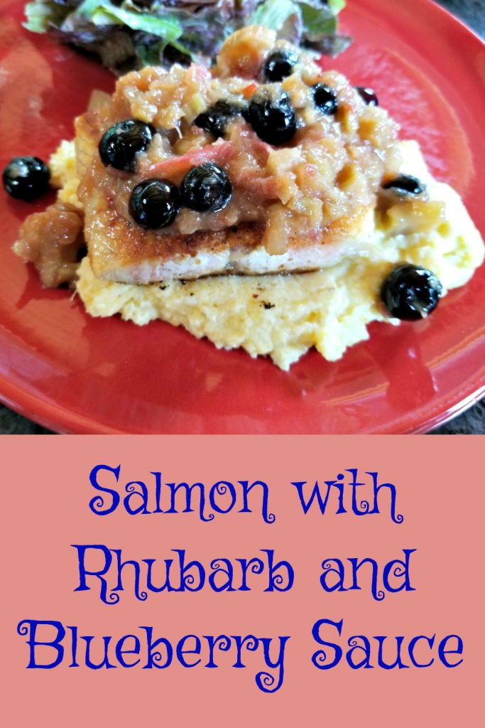 salmon with Rhubarb and Blueberry Sauce, rhubarb recipe, rhubarb sauce