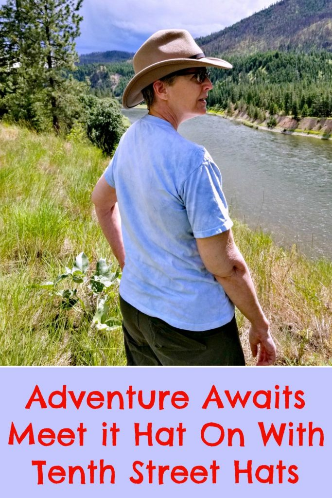 packable travel hat, Scala Hat, Dakota hat, view of Clark Fork River, AD