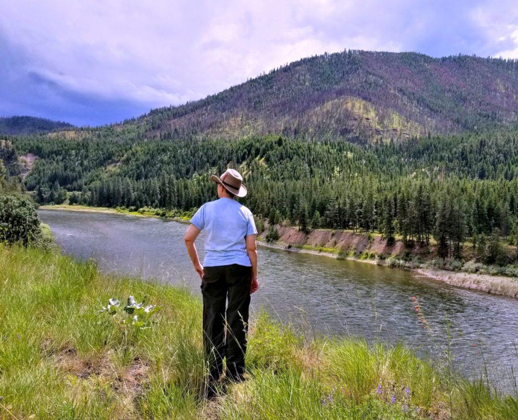 view of Clark Fork River, wearing Scala Hat Dakota, AD