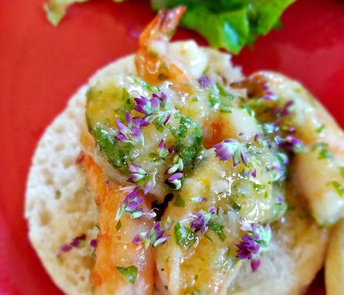 Homemade Crumpets with Roasted Garlic, Honey, Orange Shrimp