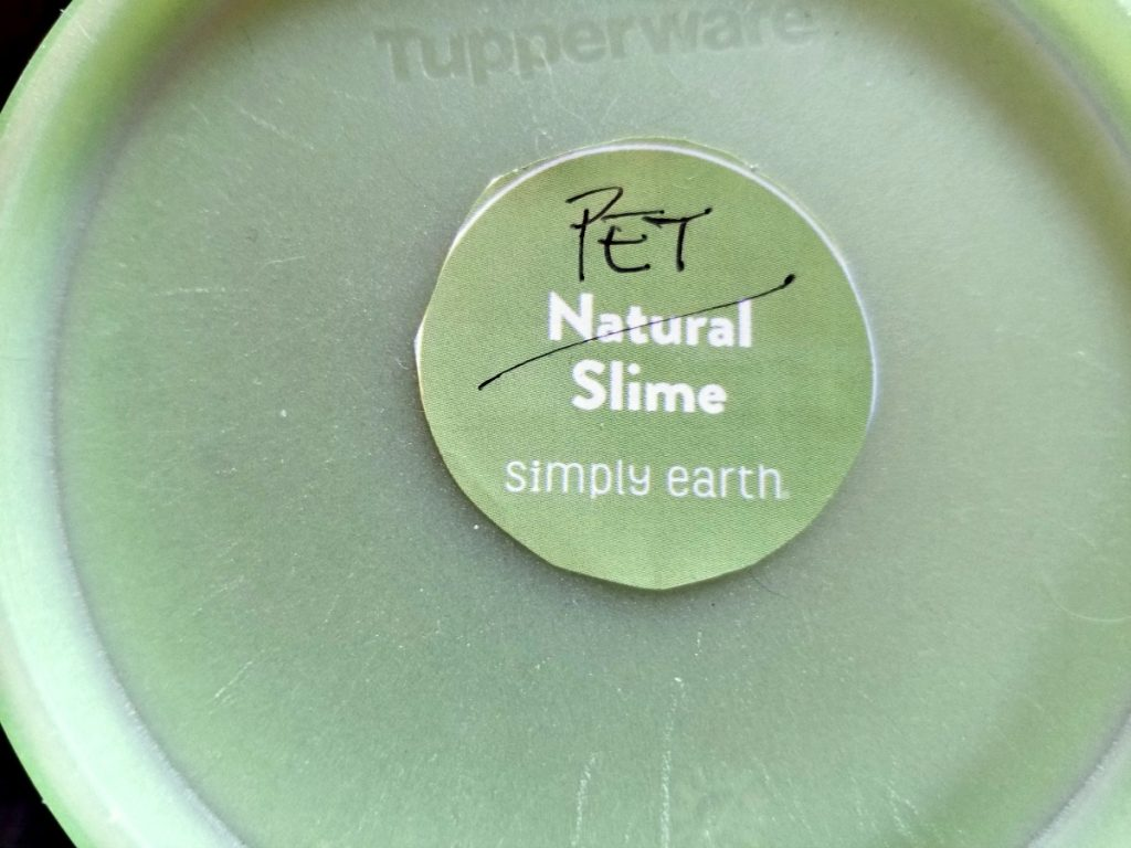 slime label on container