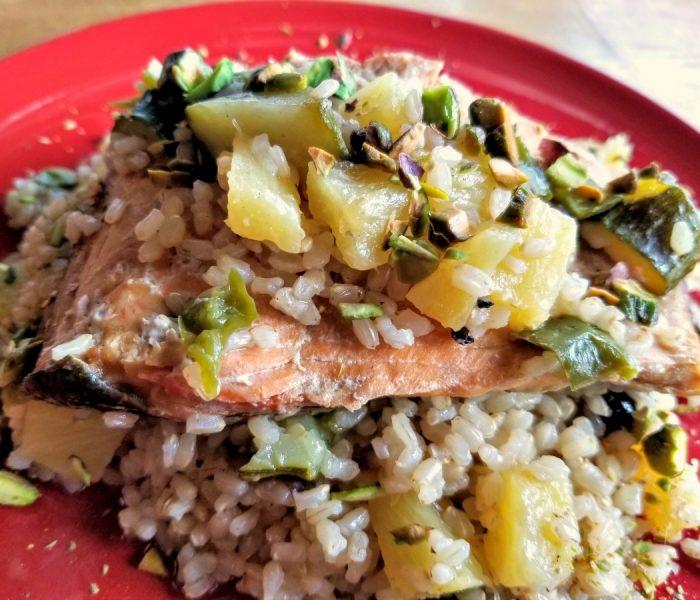 Instant Pot Salmon Recipe – Salmon with Pineapple Zucchini Rice
