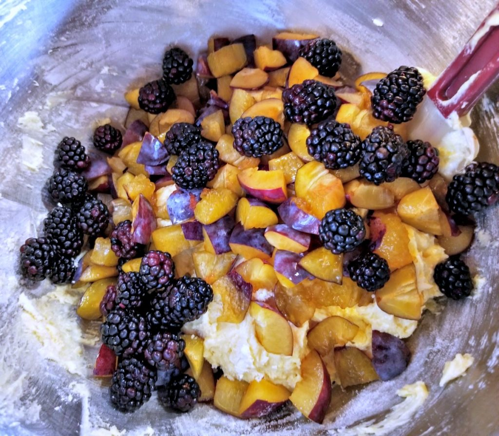 add half of the fruit to batter, plum recipe