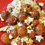 burst tomatoes with torn mozzarella on rice with balsamic vinaigrette