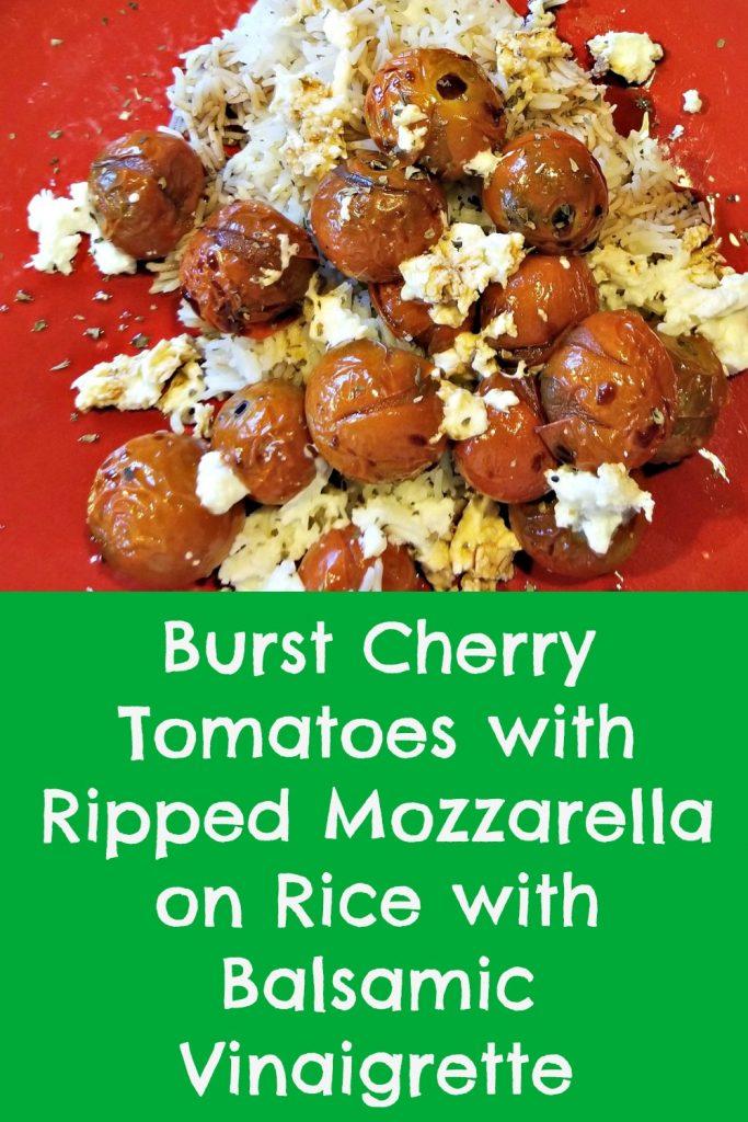 burst tomatoes with torn mozzarella