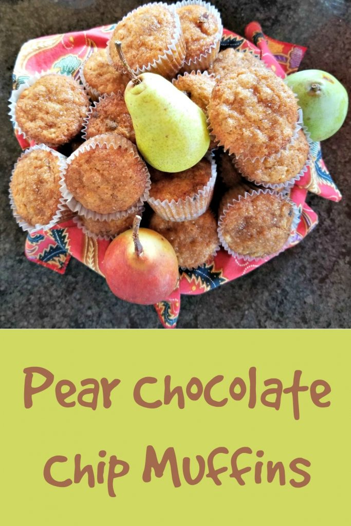 pear recipe, pear chocolate chip muffins