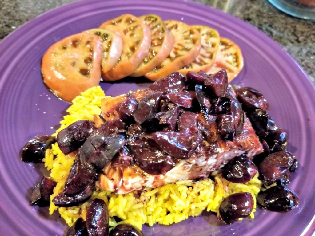 salmon with cherry ale sauce