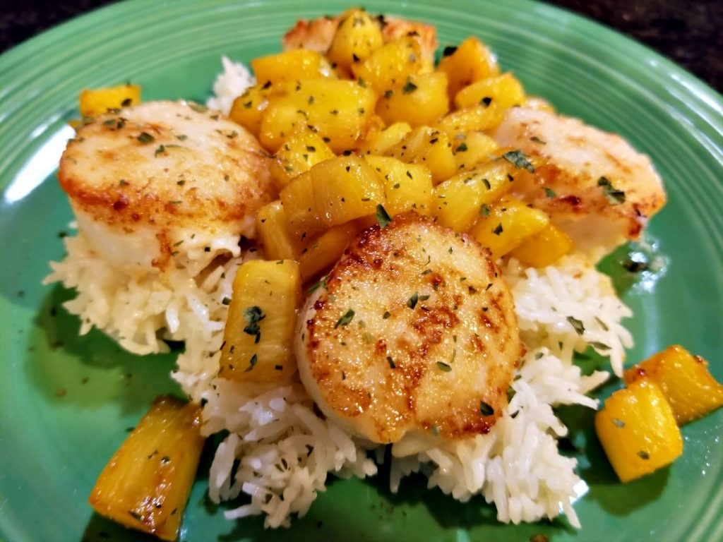 pan seared scallops with ginger pineapple