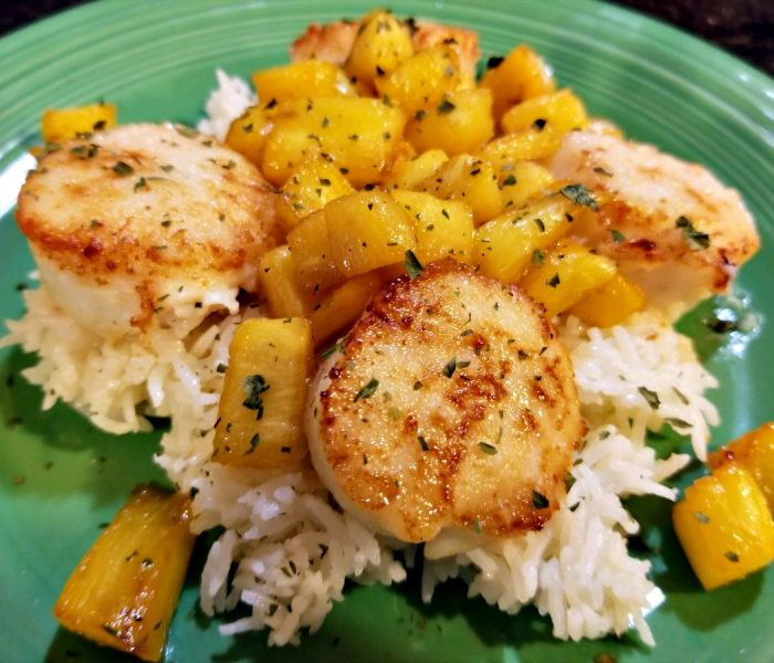 Pan Seared Scallops with Ginger Pineapple on Jasmine Rice