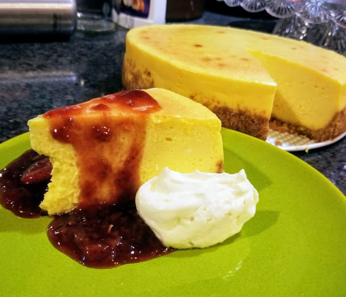 New York Cheesecake with Strawberry Balsamic Sauce