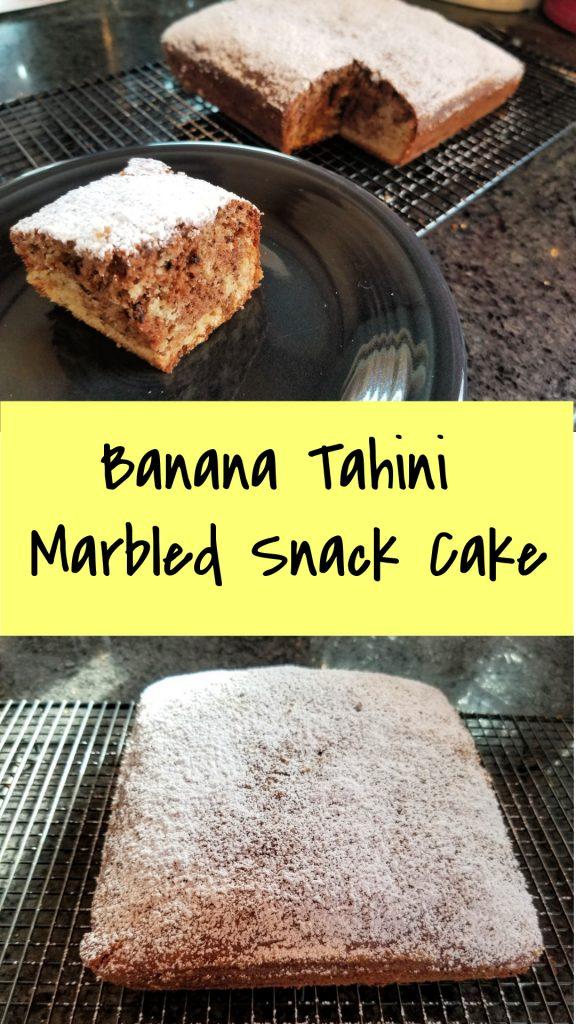 banana tahini marbled snack cake, tahini recipe