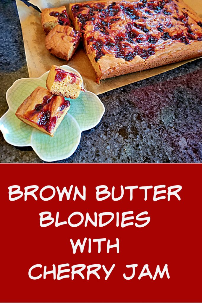 brown butter blondies with cherry jam