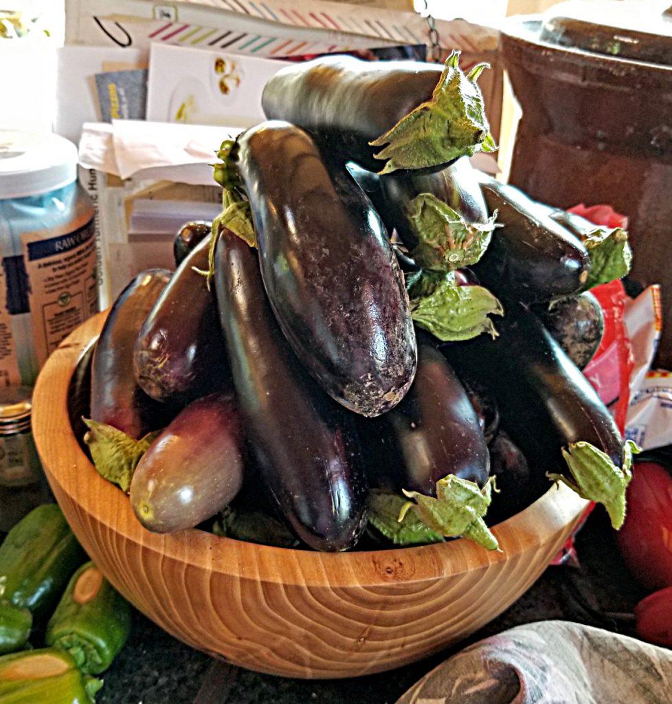 bowl full of eggplants