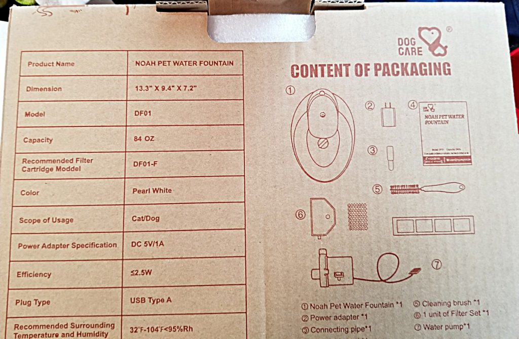 pet fountain packaging
