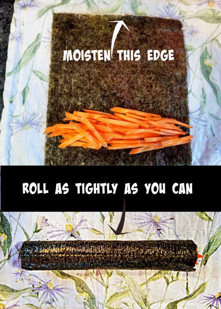 make the carrot sushi, carrot recipe