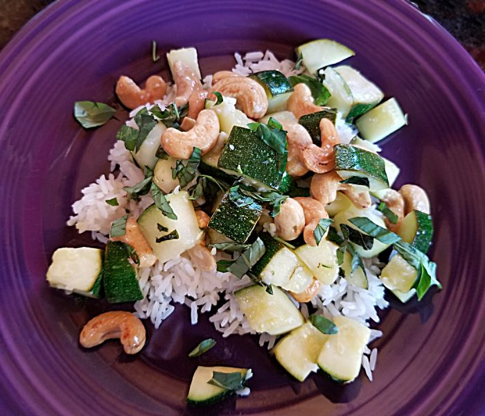 Zucchini Recipe: Lemon Basil Zucchini with Cashews on Rice