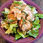 garlic shrimp and fried green tomatoes