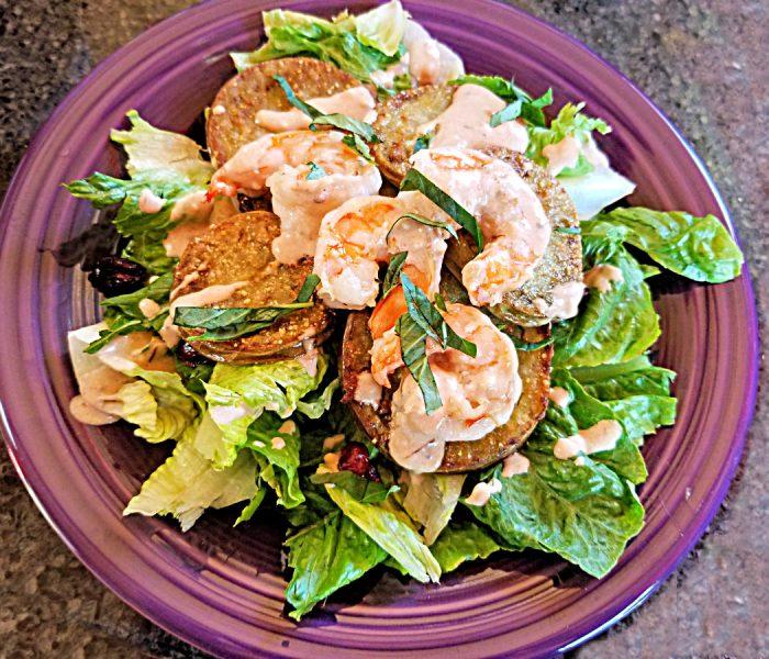 Shrimp Recipe: Garlic Shrimp and Fried Green Tomatoes