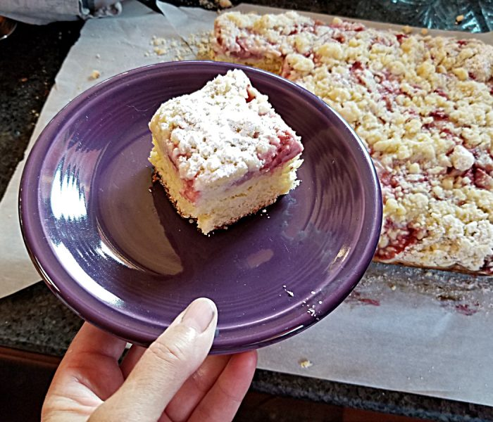 Strawberry Coffee Cake with Streusel, a Yeasted Coffee Cake