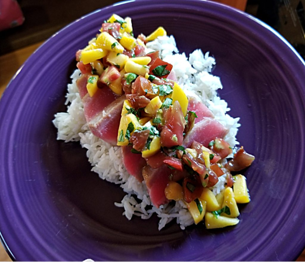 plated ahi with peach tomato salsa