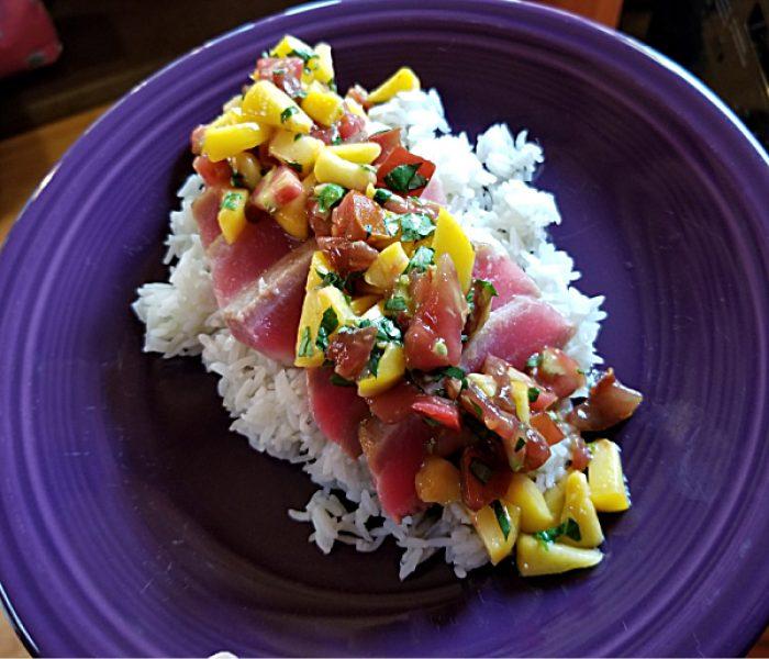 Ahi Recipe: Seared Ahi with Peach and Tomato Salsa