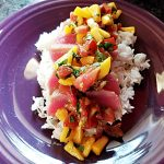 seared ahi with peach tomato salsa