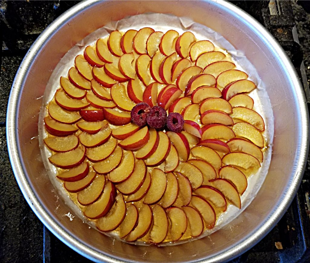line bottom of pan with plums