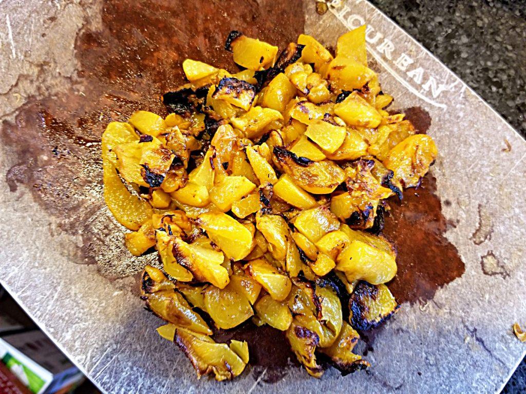 chop roasted peaches