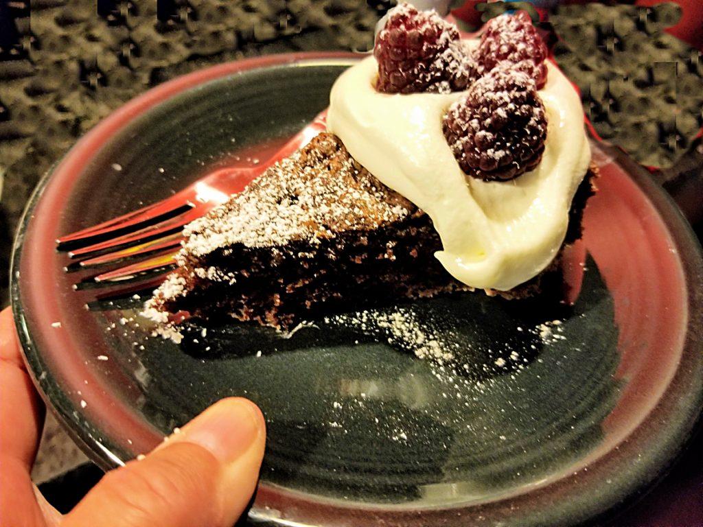 chocolate zucchini cake with whipped cream