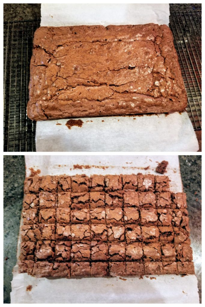 cut brownies into cubes