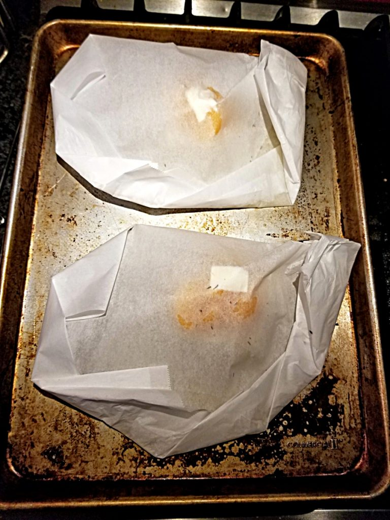 packets on baking sheet