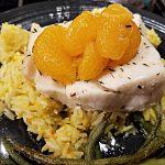 chilean sea bass on saffron rice