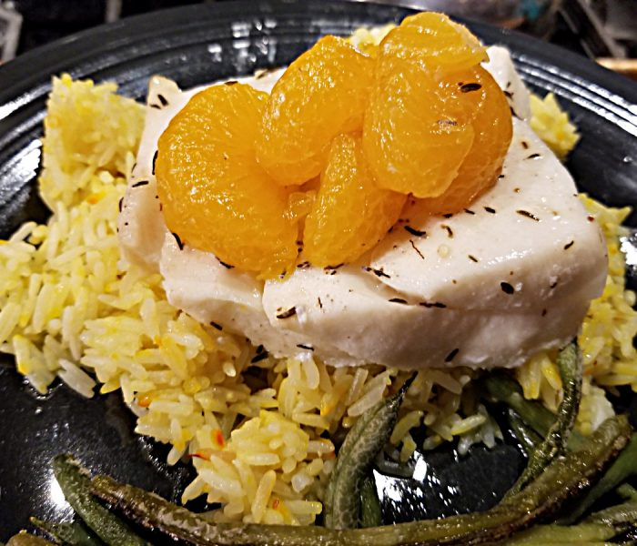 Chilean Sea Bass with Thyme and Oranges on Saffron Rice