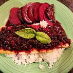 trout with basil huckleberry sauce