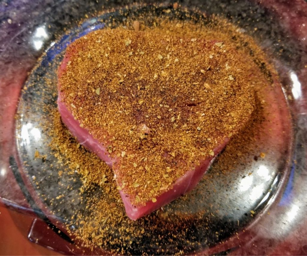 coat tuna steak