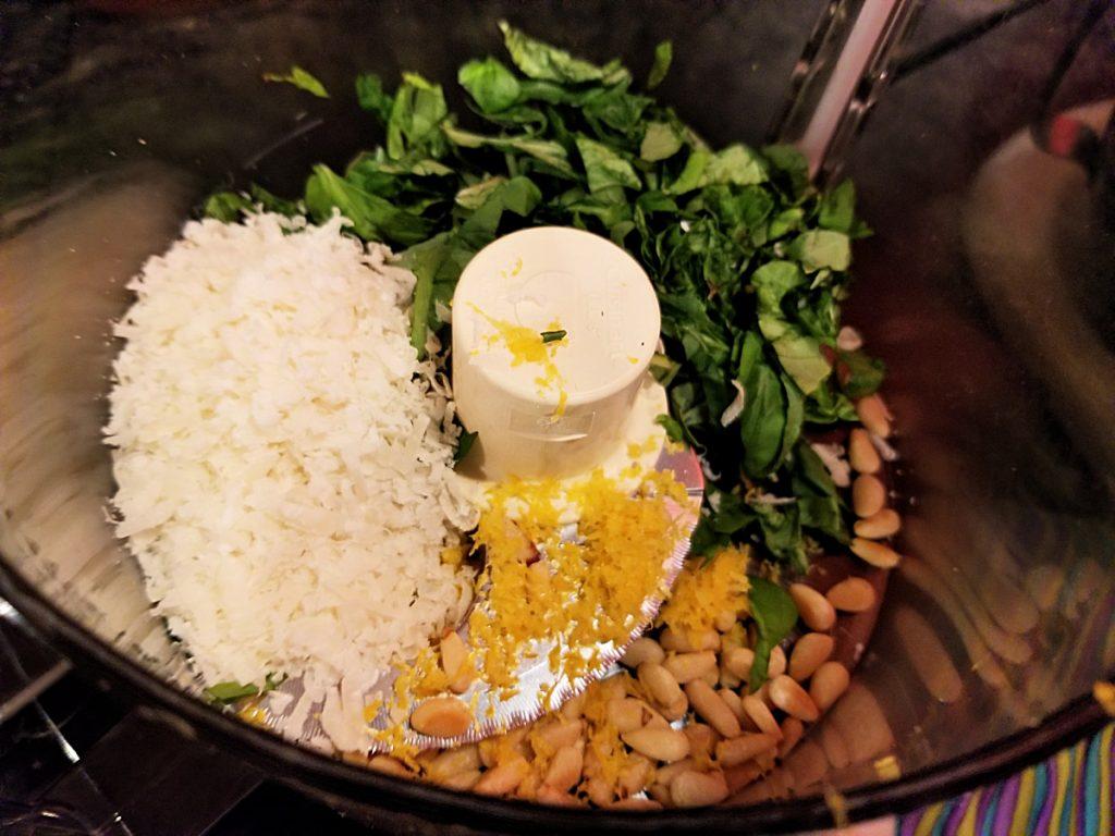 pesto ingredients in food processor