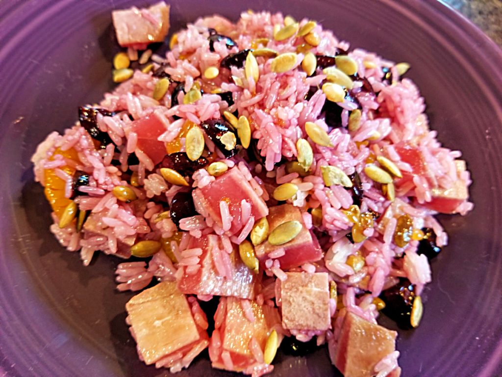 rice salad with seared ahi and cherries