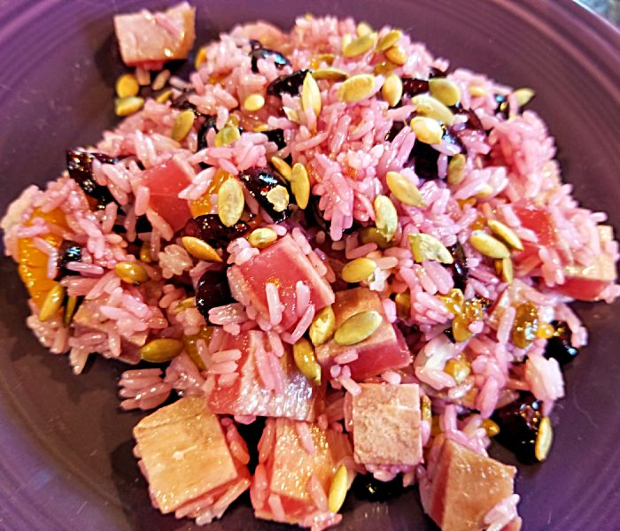 Ahi Recipe: Rice Salad with Seared Ahi, Cherries and Pumpkin Seeds