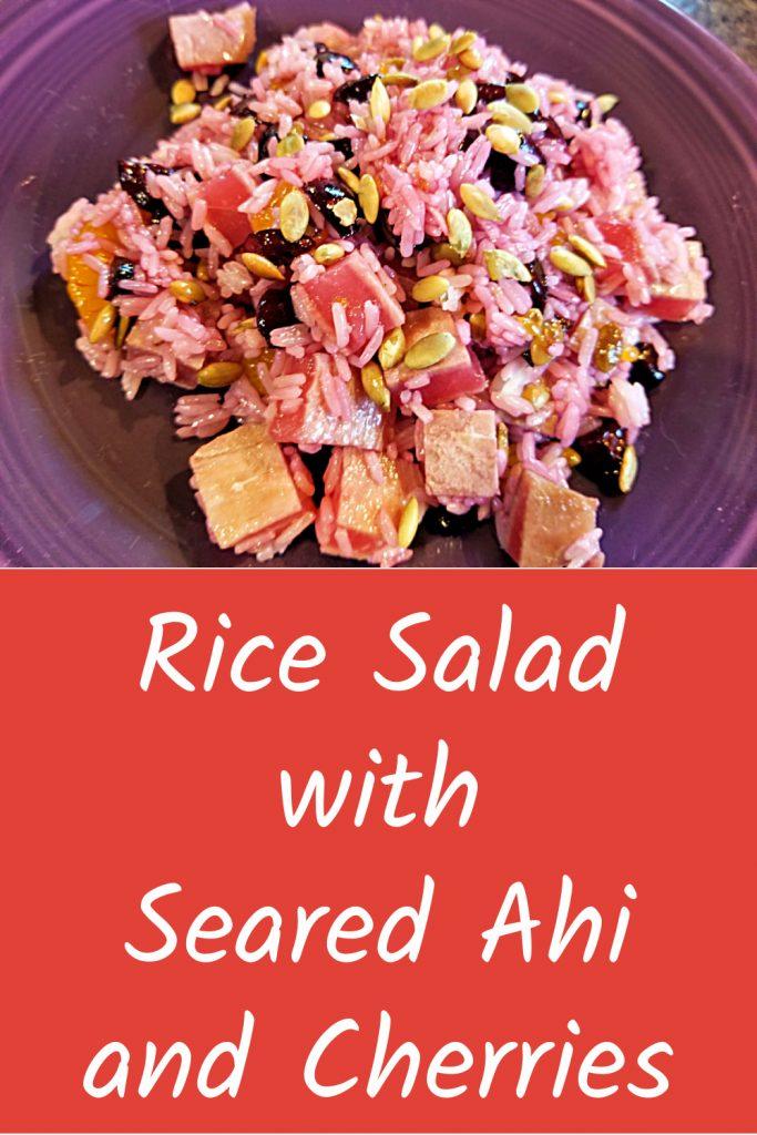 rice salad with seared ahi