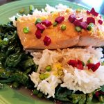 salmon with garlic scapes
