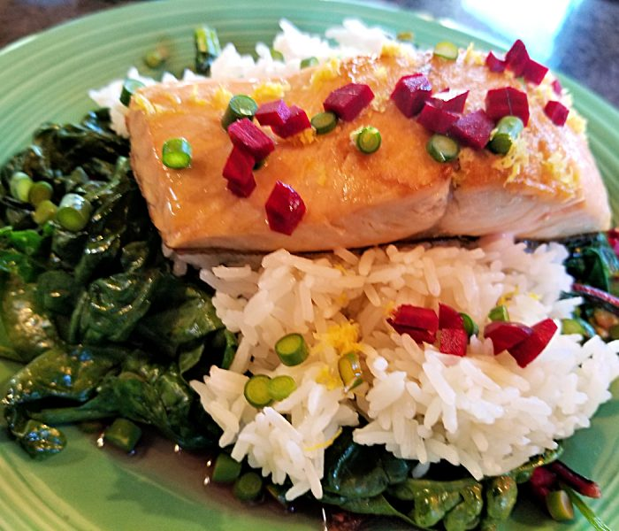 Garlic Scape Recipe Season is Here! Pan Fried Salmon with Spinach and Garlic Scapes