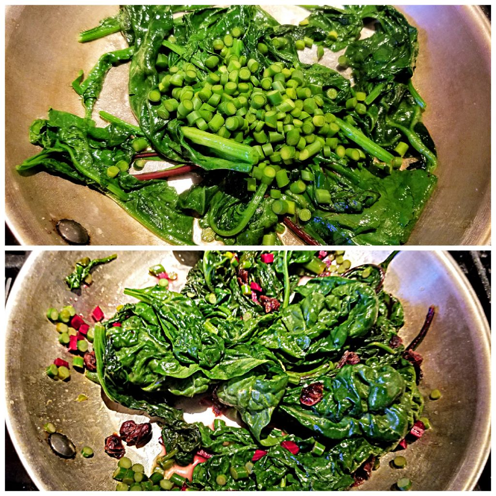 cook spinach and garlic scapes