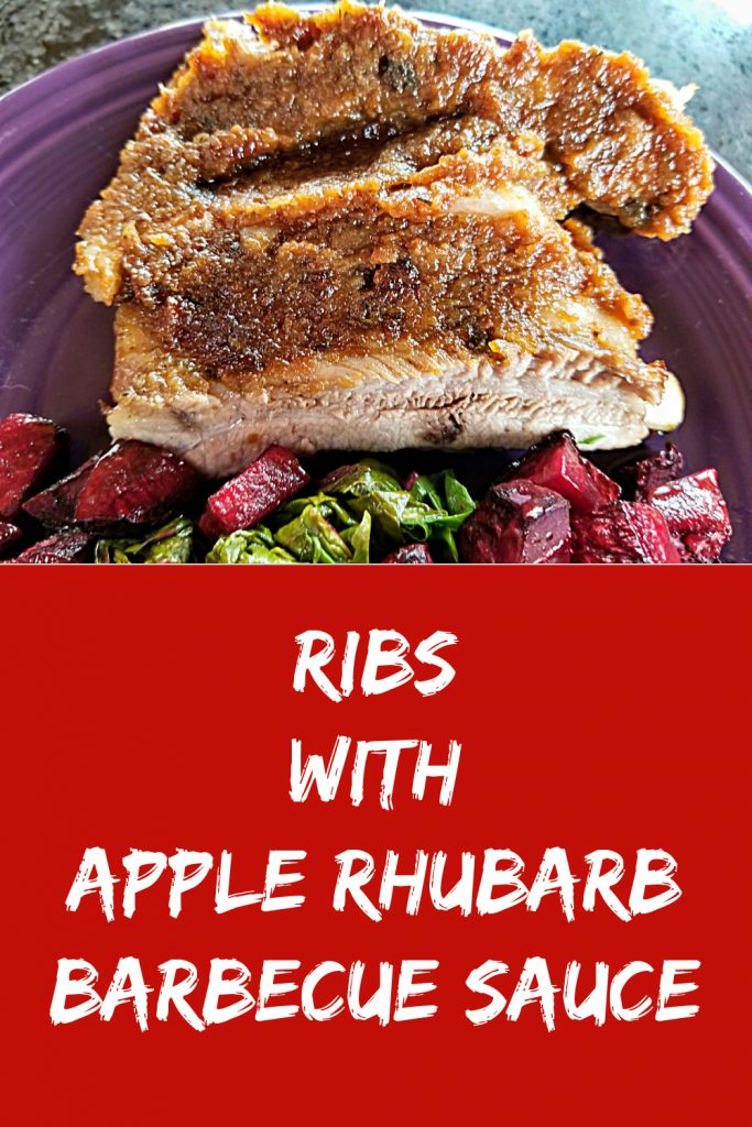 rhubarb recipe, ribs with apple rhubarb barbecue sauce