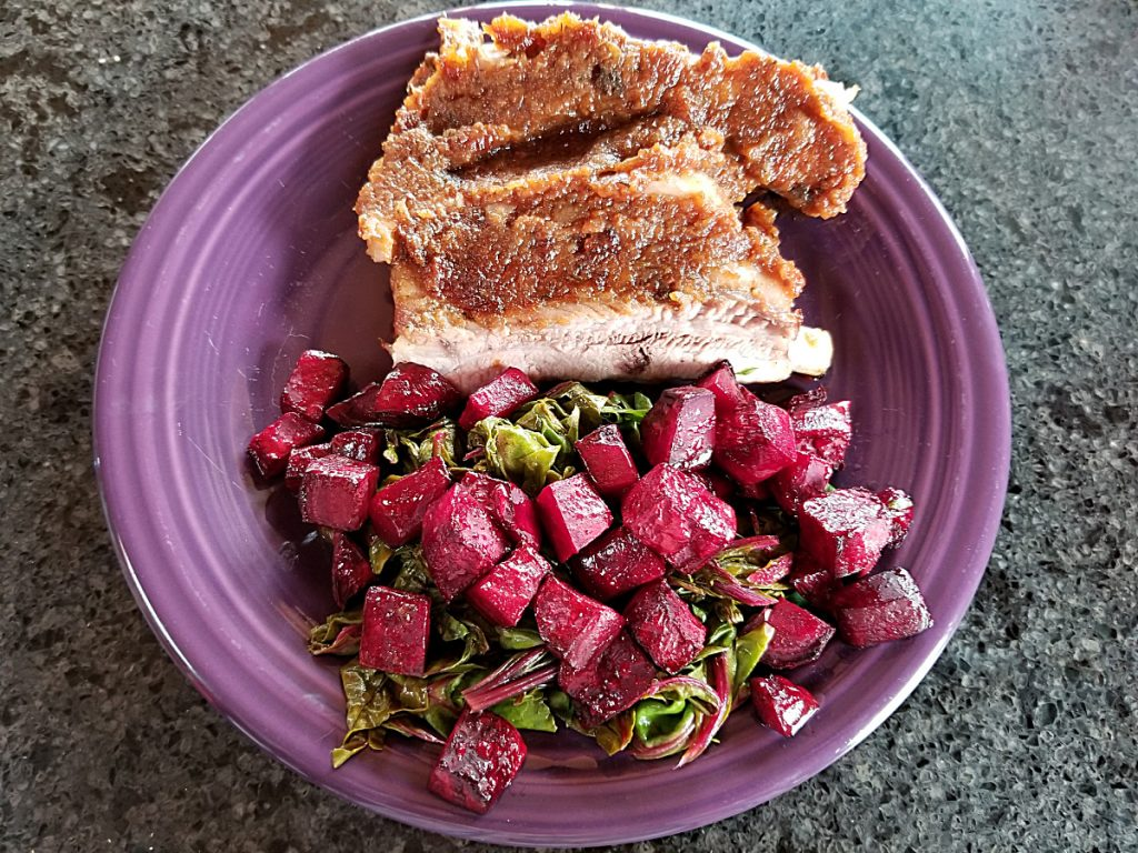 bbq ribs with rice and roasted beets