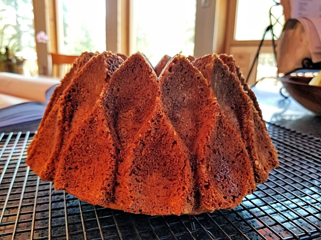 cool cake on rack