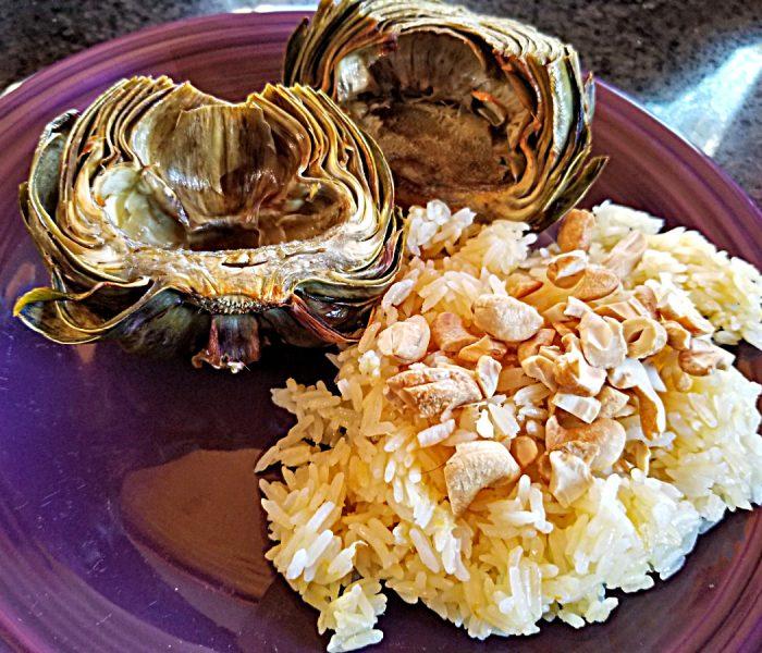 Artichoke Recipe:  Roasted Artichokes with Lemon Vinaigrette